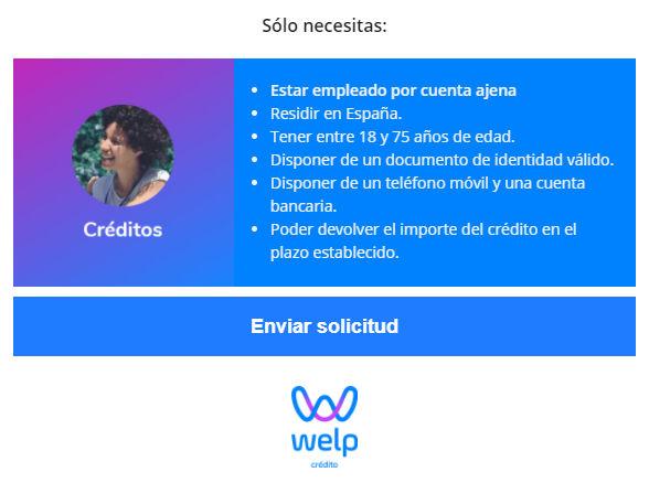 Requisitos necesarios para realizar la solicitud en Welp